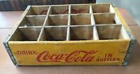 1978 YELLOW WOODEN COCA COLA Crate - 12 BOTTLE CARRIER - Chattanooga Tn.