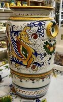 Deruta Pottery 211 2x10 Inch Tall Vase Raffaellesco Made painted by hand Italy.