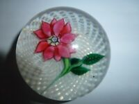 Antique New England Glass Red Poinsettia Glass Paperweight