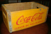 VINTAGE YELLOW COKE CRATE WOOD FAMILY SIZE COCA-COLA