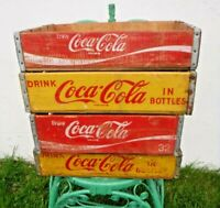 4 Vintage~1950~60~70s Yellow & Red~Coke Coca Cola In Bottles~Wood Soda Pop Crate
