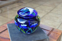 LUNDBERG STUDIOS 2001 GLASS ENCASEMENT PAPERWEIGHT LARGE JEWELRY JAR