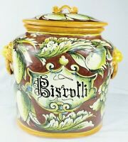 The Old World Pottery Biscotti Jar Lion Head w/Ring Red Excellent Vintage