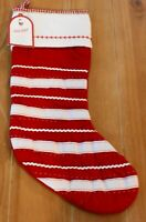 New Pottery Barn Kids QUILTED PLAIN STRIPED Christmas Holiday Stocking - 20
