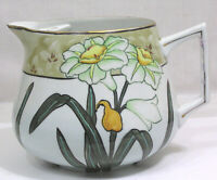 Vtg Hand Painted Nippon Lemonade Pitcher w Ice Lip Jonquils 1920s