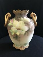 Antique 19th Century Nippon Hand Painted Footed Beaded Urn Vase Orchids Handles!