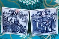 Vintage Delft Holland Apothecary Pharmacy Tiles set of 2 Burroughs 1992