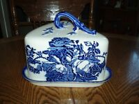 NICE STAFFORDSHIRE IRONSTONE BLUE COVERED LARGE CHEESE PLATE  Made In England