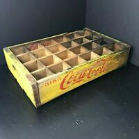 Coke Coca Cola Wooden Crate/Case | Yellow with Red Lettering | Holds 24 Bottles