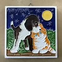 Vietri pottery-4x4 Inch Mon Amour.Made/painted By Hand.Made In Italy