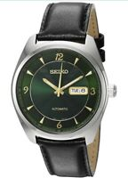 Seiko Recraft Mens Automatic Green Dial Leather Strap Watch SNKN69