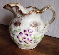 VINTAGE FLORAL PITCHER BY WHEELING POTTERY--7