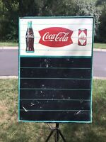 RARE VINTAGE COCA COLA FISHTAIL W/BOTTLE AND CAN TIN MENU BOARD SIGN