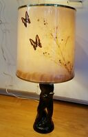 Will o the Wisp Van Briggle 1940s Flora Lamp with Butterfly Milkweed Lamp Shade