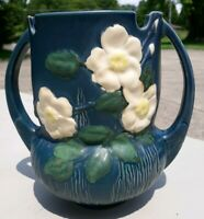 Vintage Roseville Art Pottery Blue Flower Vase # 985-8