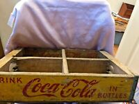 Vintage Yellow Wooden Coca Cola Coke Bottle Crate Carrier Box CHATTANOOGA 1950