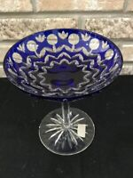 """Ajka Crystal COBALT BLUE CUT TO CLEAR 6.35"""" TALL COMPOTE CANDY NUT DISH"""