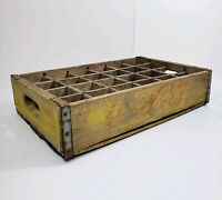 Vintage Coca Cola Yellow Wood 24 Bottle Crate Coke 1966 Carrier Caddy