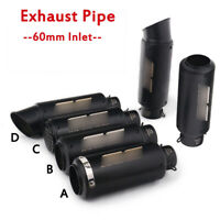 60mm Exhaust Tips Muffler Tail Pipe Connect Motorcycle Street Bike ATV Universal