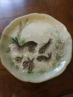 Choisy Le Roi French Majolica BUNNY RABBIT Plate for Higgins & Seiter NY