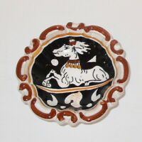 Siena Italy hand painted deer art pottery small trinket pin dish brown black 4