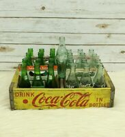 Vintage Yellow Coca Cola Wood Crate Chattanooga With Coke And 7up Bottles Bundle