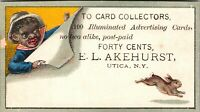RARE - BLACK AMERICANA - NEW YORK UTICA TRADE CARD - AKEHURST AD