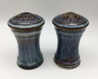 Bill Campbell Pottery Blue Brown Salt & Pepper Shakers