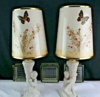 Vintage Van Briggle Pottery Pair of Table/Accent Lamps Original Shades Boy