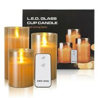 New LED Flameless Glass Candles Battery Operated Flickering with Remote Control