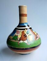 Vintage Mexican Tlaquepaque tourist pottery water bottle vase donkey man cacti