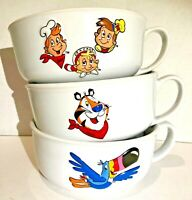 Vintage Kellogg's Cereal Bowls Set of 3 Frosted Flaked Rice Krispies Fruit Loops