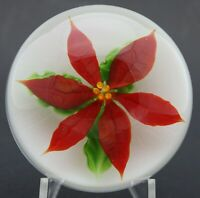 LARGE Festive LUNDBERG STUDIOS Red POINSETTIA FLOWER Art Glass PAPERWEIGHT 3.2