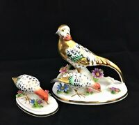 Crown Staffordshire Golden Pheasants set JT Jones Bird Porcelain Figurines 2 pcs
