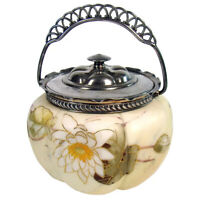 Mount Washington Glass Biscuit Jar with Silver Plated Handle 1890#x27;s