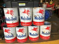 Lot of 7 Vintage Mobiloil Oil Cans from the 1950's w/ Pegasus Horse Socony Mobil
