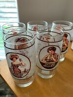 5 Vintage Pepsi Cola Victorian Lady Gibson Girl  Soda Drinking Glass