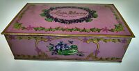 Vintage Louis Sherry New York Hinged Candy Tin Box Pink w Violets 1920's