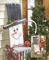 Reversible Halloween/Christmas Scarecrow/Snowman Seasonal Wooden Greeter Sign