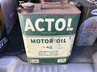Rare Vintage ACTOL 40 MOTOR OIL 2 Gallon Oil Can SPOUT MORE LISTED