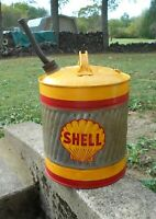 VINTAGE 5 GALLON METAL GAS CAN SHELL OIL CO LOGO DECAL DELPHOS DAISY PATTERN TOP