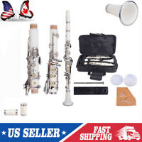 Professional School Band Bb Clarinet with Case + Care Kit for Beginner White