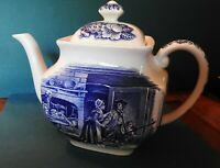 VINTAGE LIBERTY BLUE TEA POT W/LID MADE IN ENGLAND HISTORIC SCENES 7