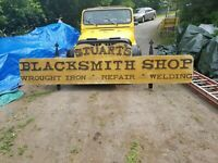 Vintage Handmade 12 Foot, Blacksmith Shop Sign, Wrought Iron - Repair - Welding