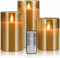 LED Flameless Candles Real Wax Moving Effect Flickering Glass Candle Sets