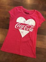 Coca Cola Womens Fitted Red Graphic T Shirt Love ❤️ COCA COLA Top Size L