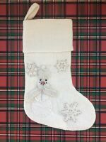 NWOT Pottery Barn Kids All That Glitters Wool Stocking Snowman mono removed