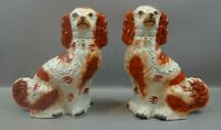 PAIR 19th CENTURY STAFFORDSHIRE RUSSET RED & WHITE SPANIEL DOGS c1850s