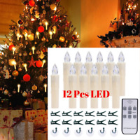 12 PCS LED Window Candles with Timer & Remote Battery Operated Taper, Warm White