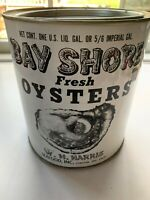 Vintage 1 Gallon Bay Shore Oysters Tin/Can